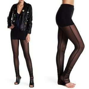 Know One Cares Black Mesh Cuff Leggings Long Small